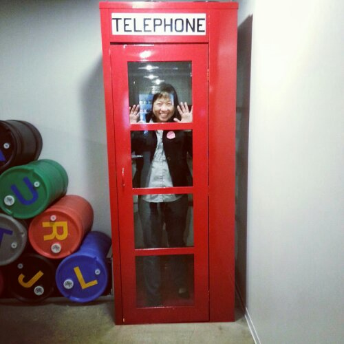Michelle in telephone booth